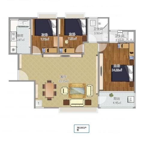 南约(南景新村)100平方设计草图3室1厅2卫1厨100.00㎡户型图