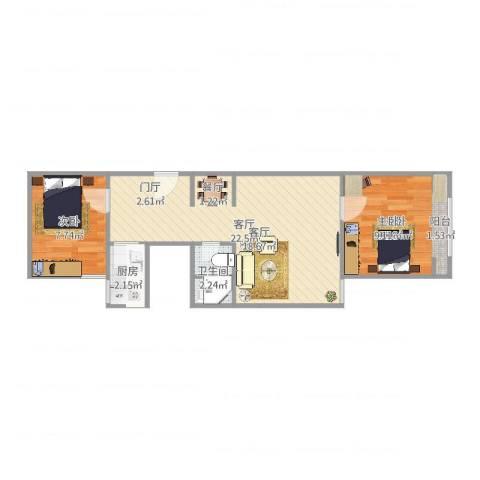 静淑东里2室1厅1卫1厨57.00㎡户型图