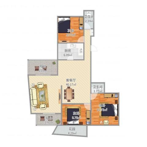 河滨围城(二期)3室2厅2卫1厨130.00㎡户型图