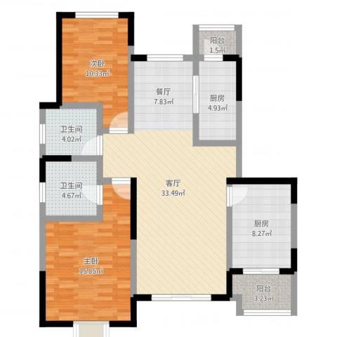 贻成豪庭2室1厅2卫2厨108.00㎡户型图