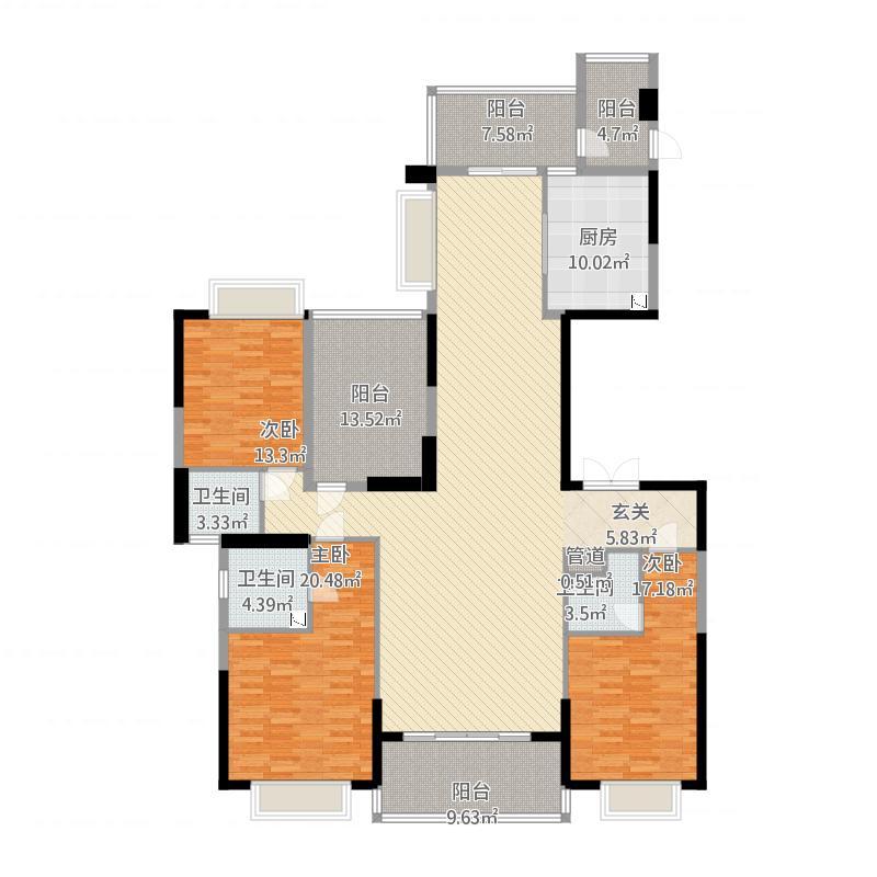 天骄御峰209㎡01户型3室2厅3卫1厨209.00㎡