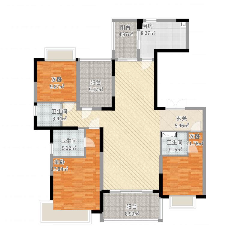 天骄御峰162㎡01户型3室2厅3卫1厨162.00㎡