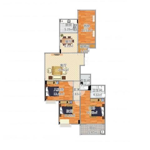 名仕花园4室2厅2卫1厨136.00㎡户型图