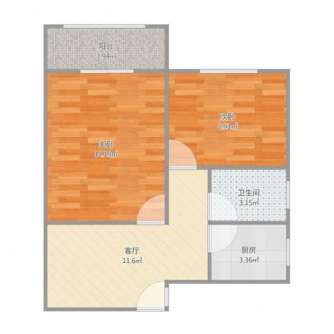 新长征花苑2室1厅1卫1厨56.00㎡户型图