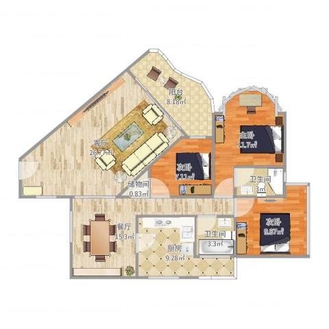 自然家园3室2厅2卫1厨119.00㎡户型图