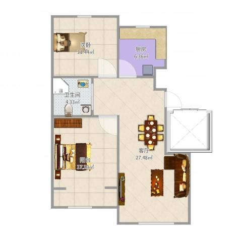绿地卢浮公馆1室1厅1卫1厨83.00㎡户型图
