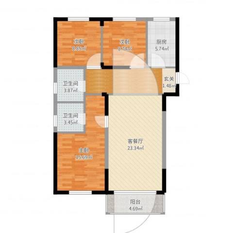 斯坦福院落2011百花深处3室2厅2卫1厨106.00㎡户型图