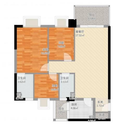 精英名都二期3室2厅2卫1厨106.00㎡户型图