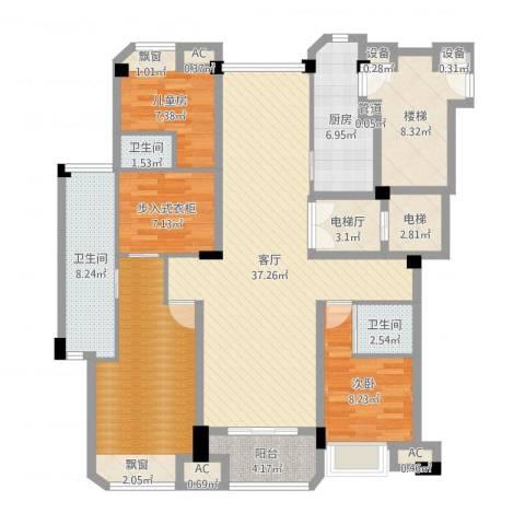 保利紫晶山2室1厅3卫1厨145.00㎡户型图