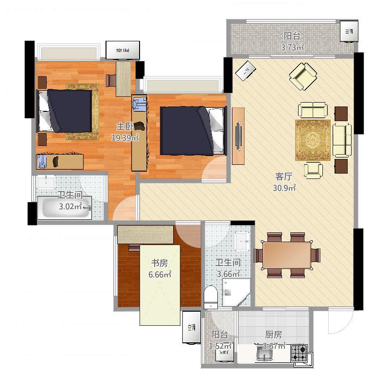 竹城一号87方3居室