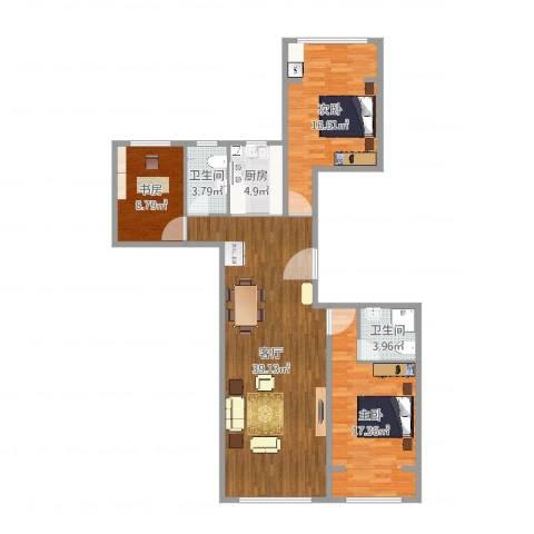 尚诚国际3室1厅2卫1厨118.00㎡户型图