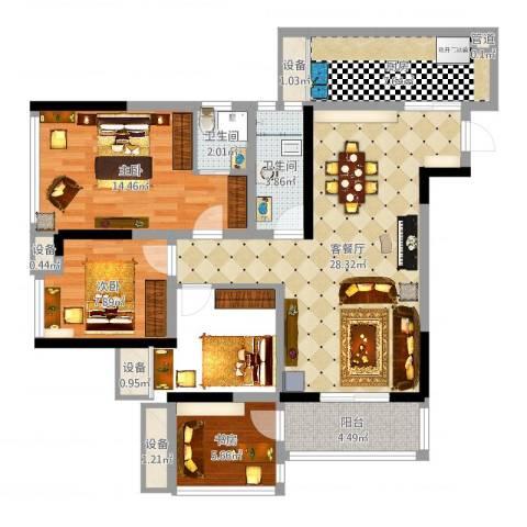 环球时代广场3室2厅7卫1厨98.00㎡户型图