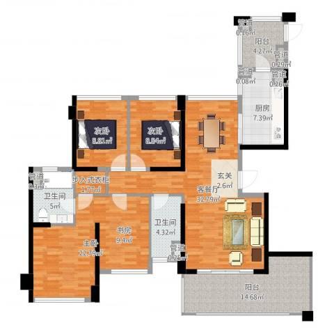 绿岛湖壹号3室2厅2卫1厨140.00㎡户型图
