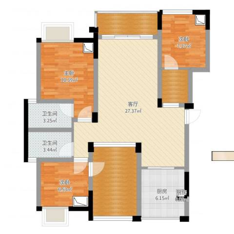南湖学府3室1厅2卫2厨101.00㎡户型图
