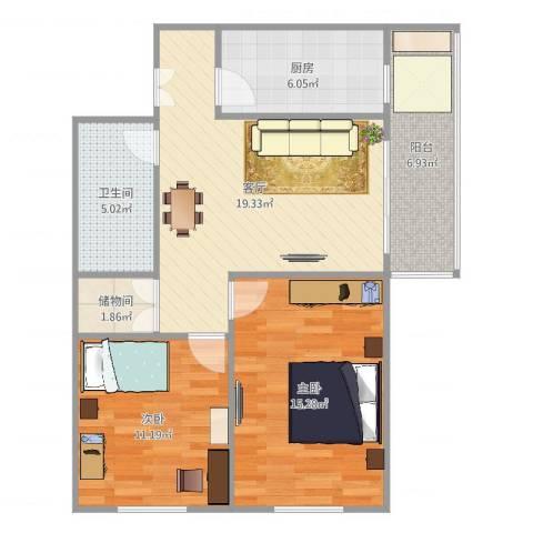 北京市东城区朝内南小街18号楼2室1厅1卫1厨82.00㎡户型图