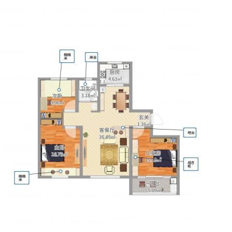 明佳花园3室2厅1卫1厨114.00㎡户型图