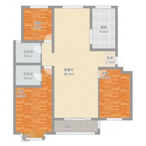 古运新苑3室2厅2卫1厨164.00㎡户型图