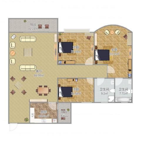 中山港-群英华庭3室1厅2卫1厨254.00㎡户型图