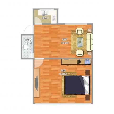 瑞冬小区1室1厅1卫1厨64.00㎡户型图