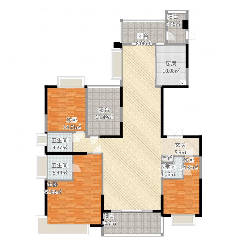 天骄御峰226㎡01户型3室2厅3卫1厨226.00㎡