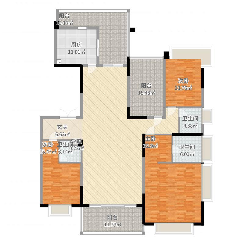 天骄御峰236㎡02户型3室2厅3卫1厨236.00㎡