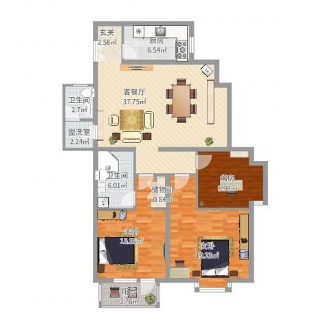 空港米兰花园3室4厅2卫1厨147.00㎡户型图