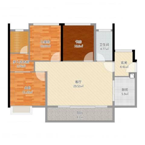 荔园悦享星醍3室1厅1卫1厨117.00㎡户型图