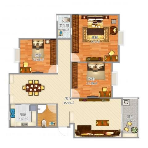 汉林花园3室1厅1卫1厨90.11㎡户型图