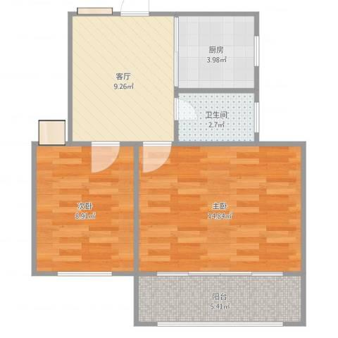 齐七小区2室1厅1卫1厨56.00㎡户型图