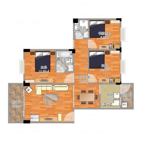 顺景蔷薇山庄2室1厅2卫1厨99.00㎡户型图
