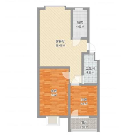 汇源华庭2室2厅1卫1厨83.00㎡户型图