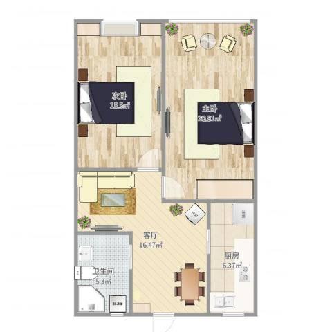 淞南五村2室1厅1卫1厨77.00㎡户型图