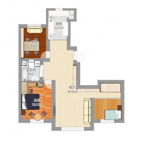 景康名苑2室1厅1卫1厨95.00㎡户型图