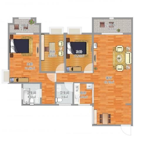 三亚同心家园3室1厅2卫1厨136.00㎡户型图