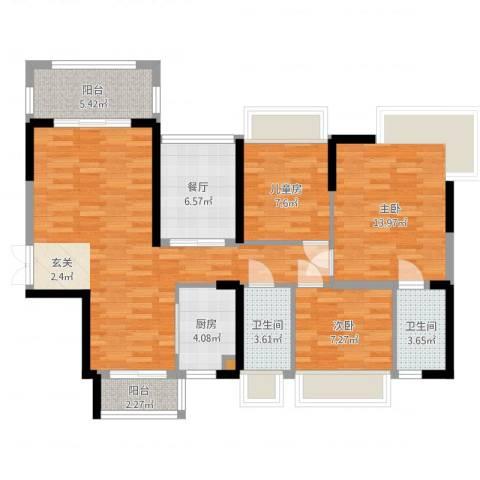 嘉宏公园1号3室1厅2卫1厨106.00㎡户型图