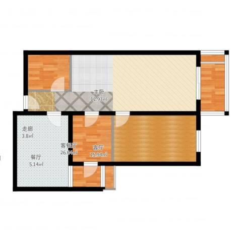乐城2室2厅1卫1厨88.00㎡户型图