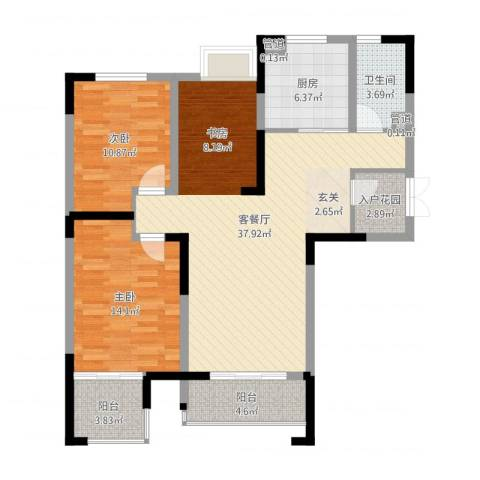 冠城华府2室2厅1卫1厨106.00㎡户型图