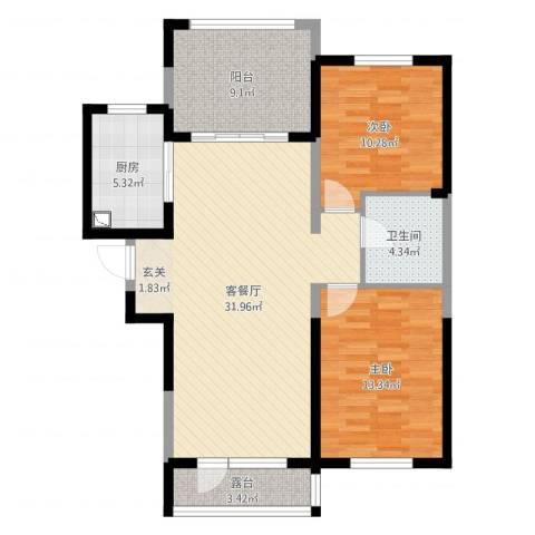 碧桂园(汇置)公园里高层2室2厅1卫1厨97.00㎡户型图