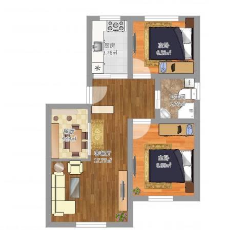 富润阳光2室3厅1卫1厨43.52㎡户型图
