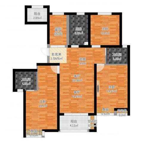 保利御樽苑3室2厅2卫1厨151.00㎡户型图