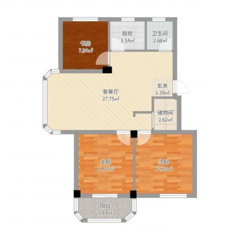 水尚阑珊3室2厅1卫1厨90.00㎡户型图
