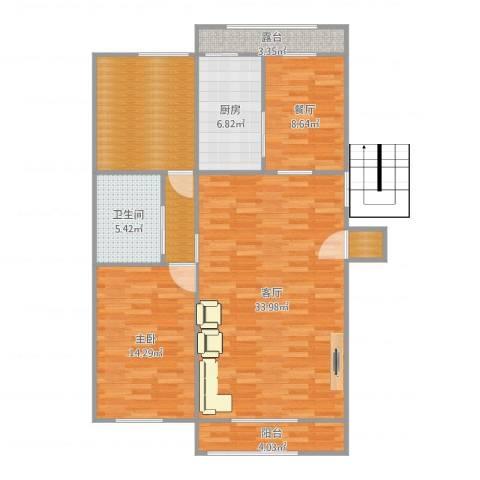 晨光花园3栋1门2021室2厅1卫1厨113.00㎡户型图