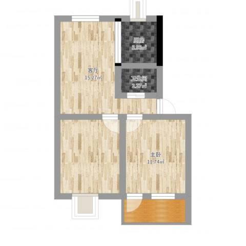 角滨路宿舍房1室1厅1卫1厨61.00㎡户型图