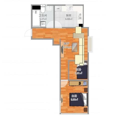 海馨苑2室1厅1卫1厨52.00㎡户型图