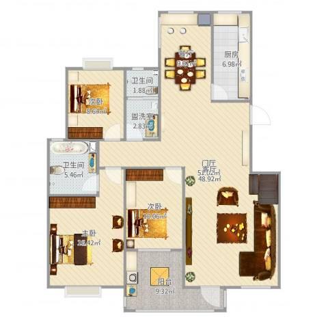 元氏天山水榭花都3室2厅2卫1厨151.00㎡户型图