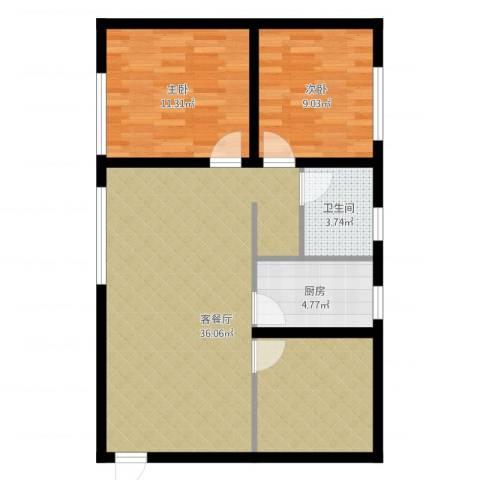 保利金香槟2室2厅1卫1厨81.00㎡户型图