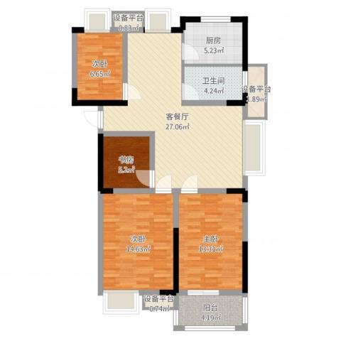 金都华府4室2厅1卫1厨105.00㎡户型图