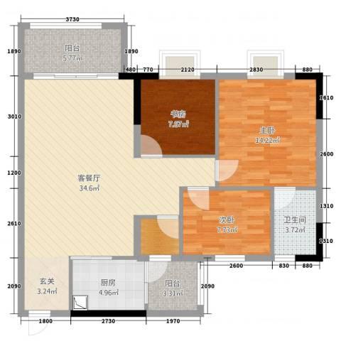 富泽豪庭3室2厅1卫1厨95.00㎡户型图
