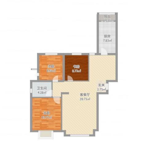 万锦香颂3室2厅1卫1厨106.00㎡户型图