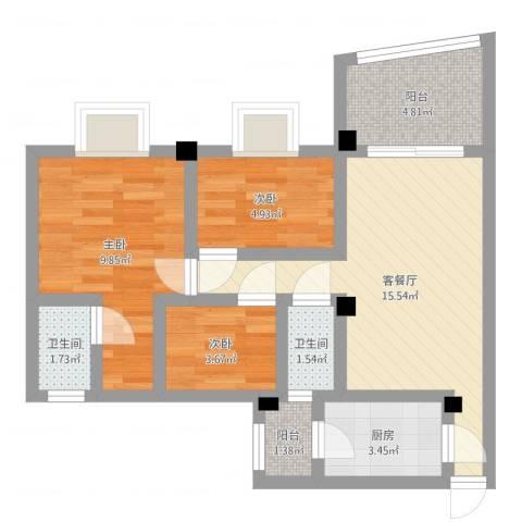 碧桂园荔园3室2厅2卫1厨59.00㎡户型图